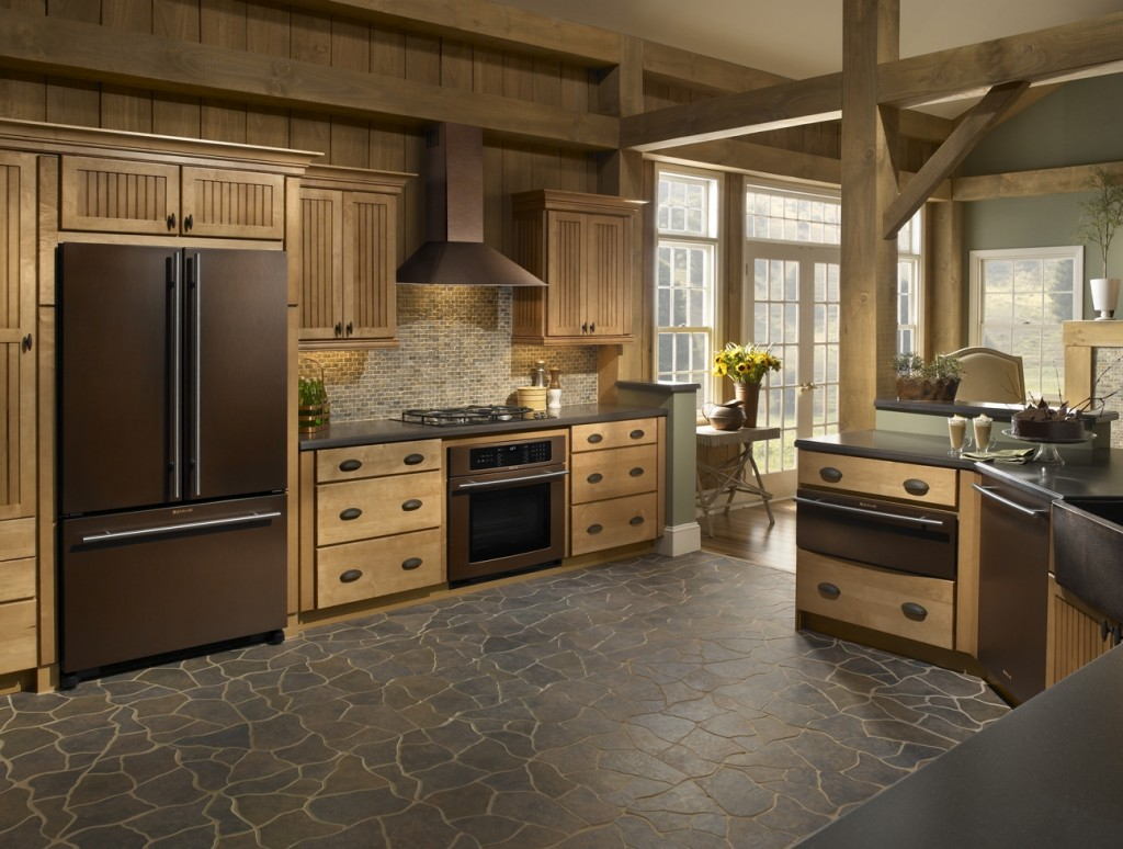 Oil Rubbed Bronze Appliances Add Warmth to Colonial Kitchen