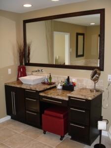single vessel sink vanity with make up area ~ Design Build Pros