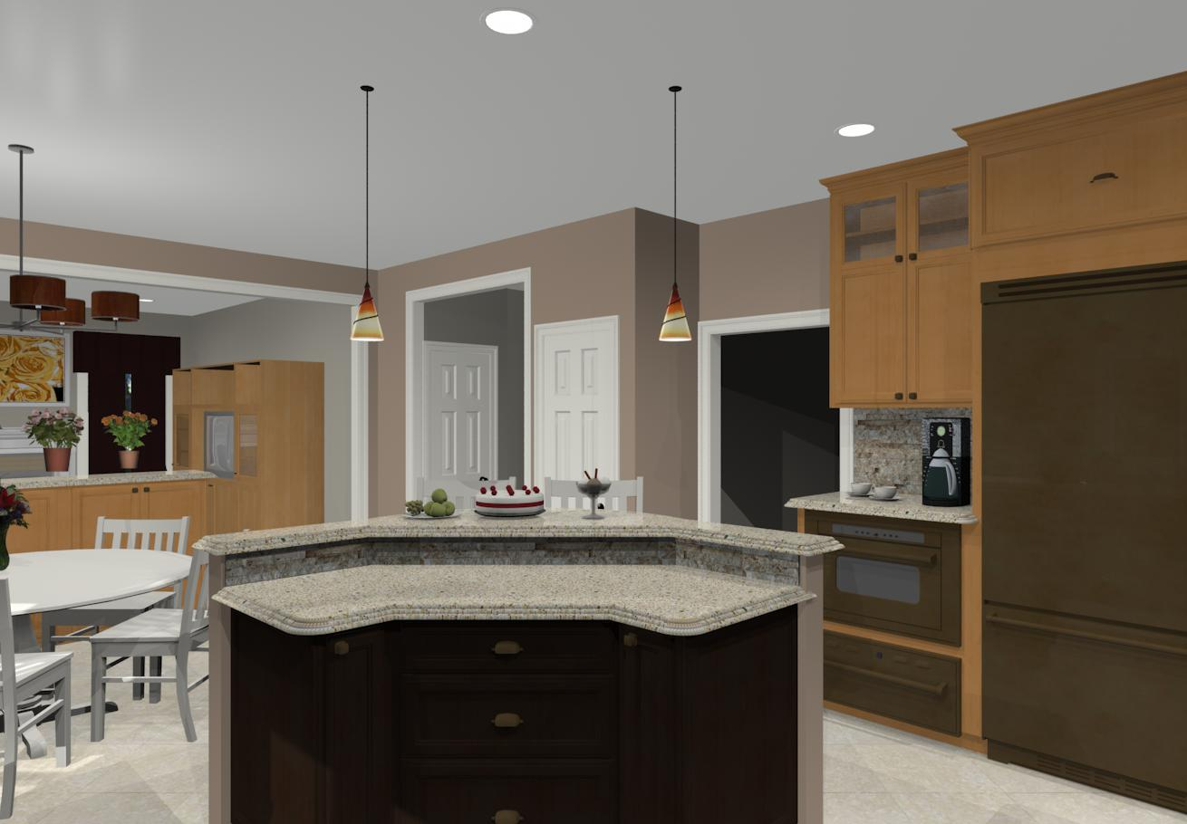 Large Kitchen With Two Islands