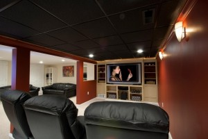 basement remodel with theater room designed by the Design Build Pros