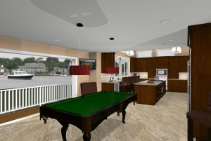 game room and kitchen design at the Jersey Shore