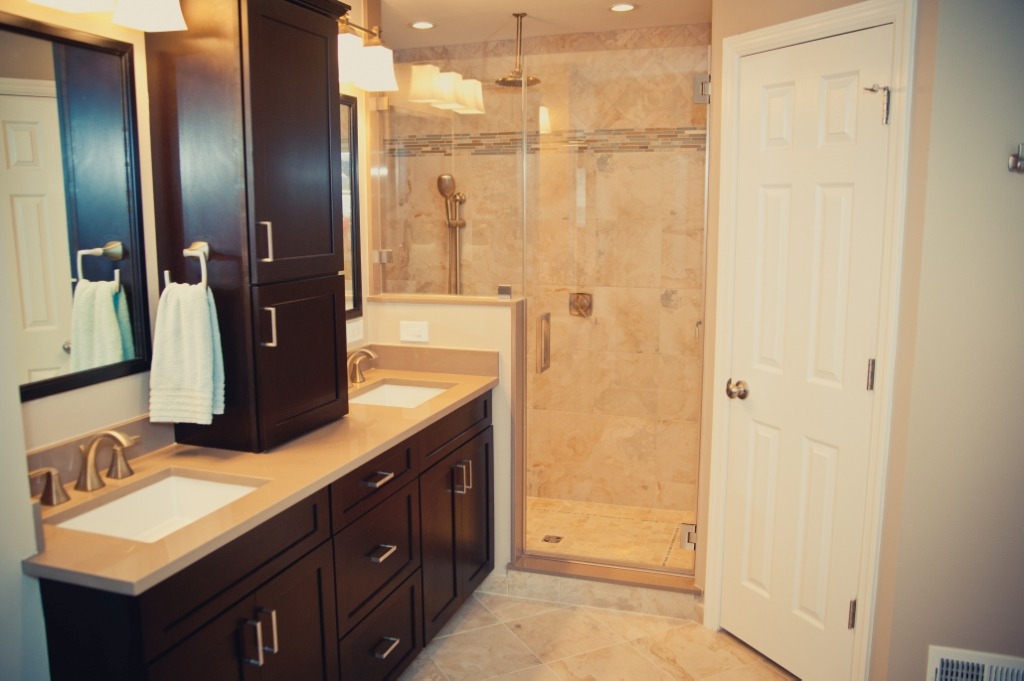 Master bathroom remodel with redesign and hall bathroom for Bathroom redesign images