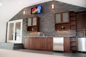 wet bar in game room from the Design Build Planners