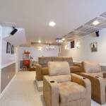 Basement renovation featuring home theater (2)
