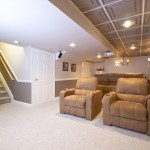 Basement renovation featuring home theater (5)