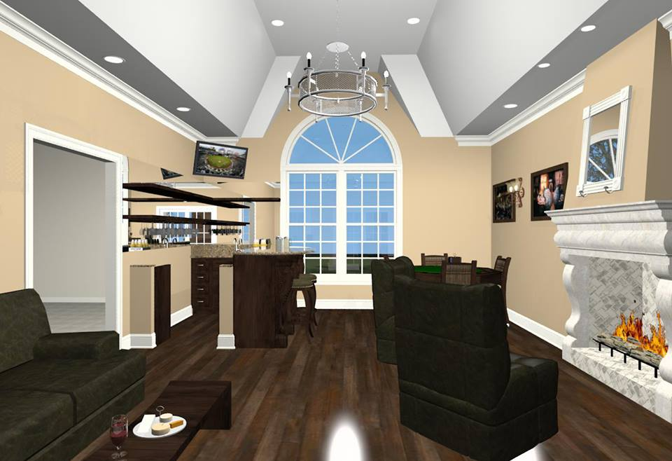 Bonus room designs with fireplace wet bar and wine room for Bonus room ideas