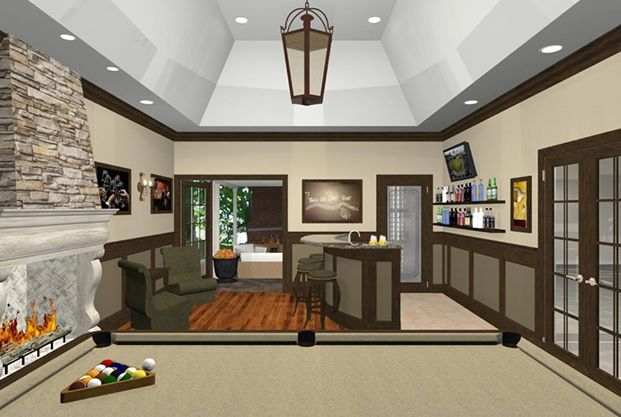 Bonus Room Designs With Fireplace Wet Bar And Wine Room New Jersey - Bonus room designs