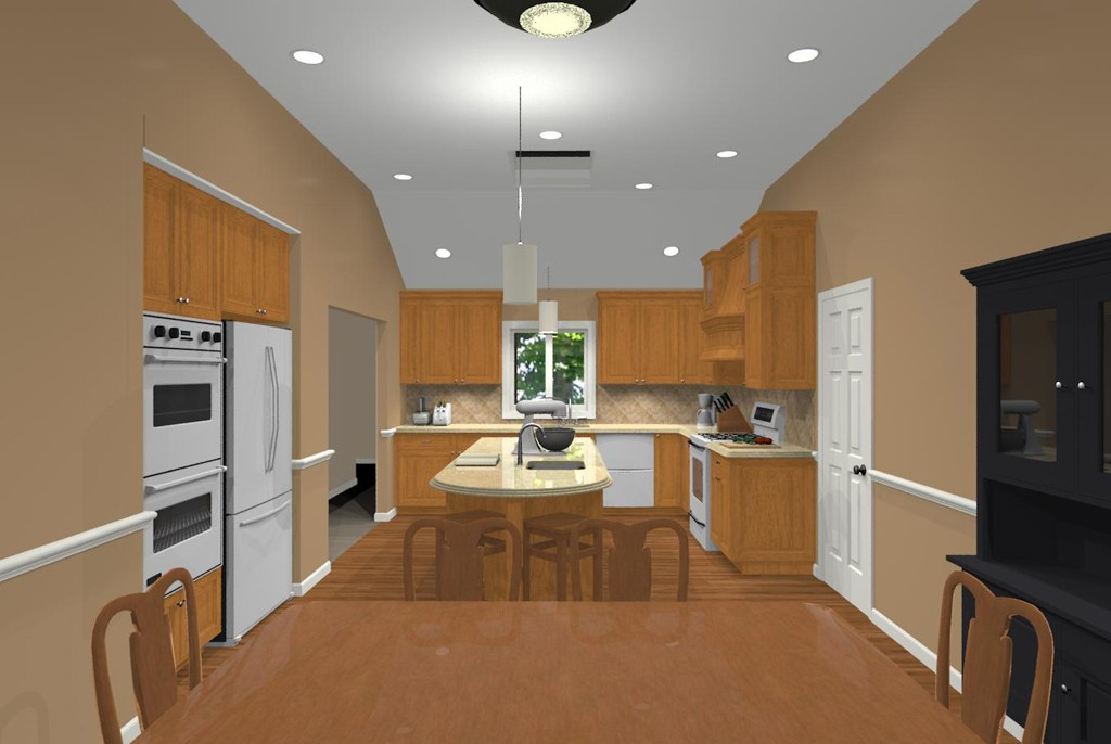Open plan kitchen and contemporary vaulted ceiling nj for Vaulted ceiling kitchen designs