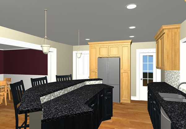 large family kitchen with an island design 2 - Family Kitchen Design