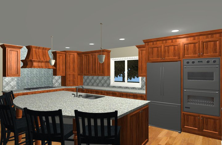 Large Family Kitchen And Island Design Options