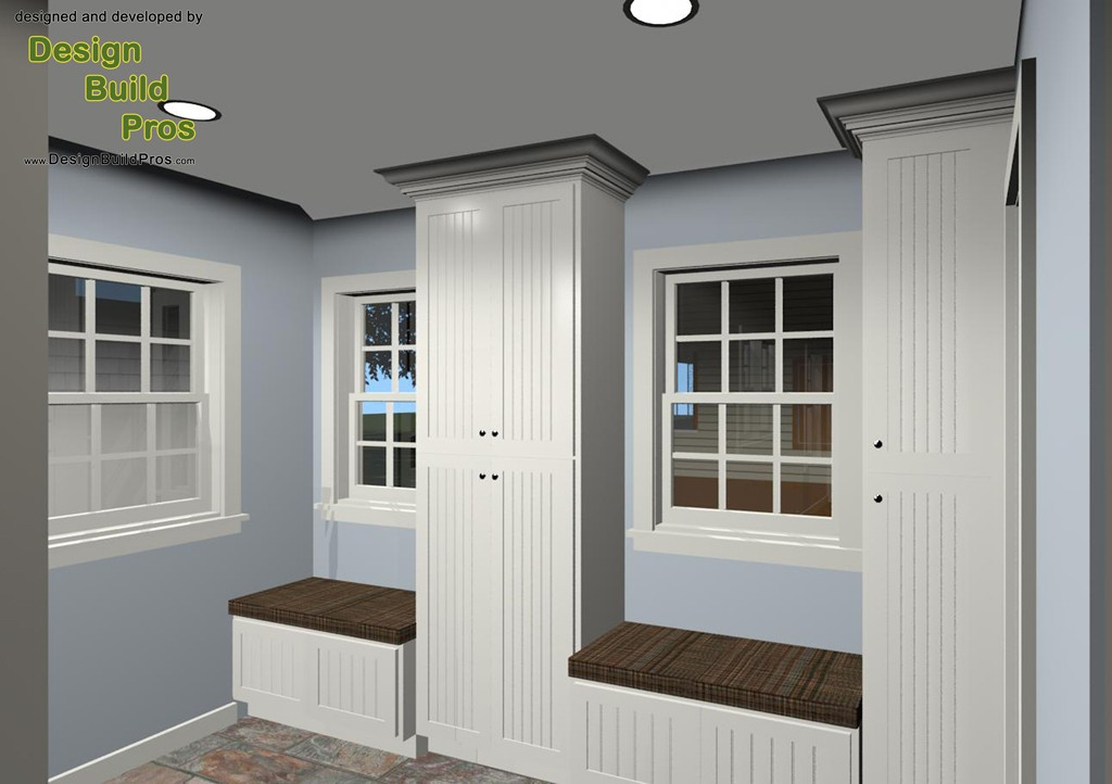 Mud room addition powder room and a covered porch for Addition room design
