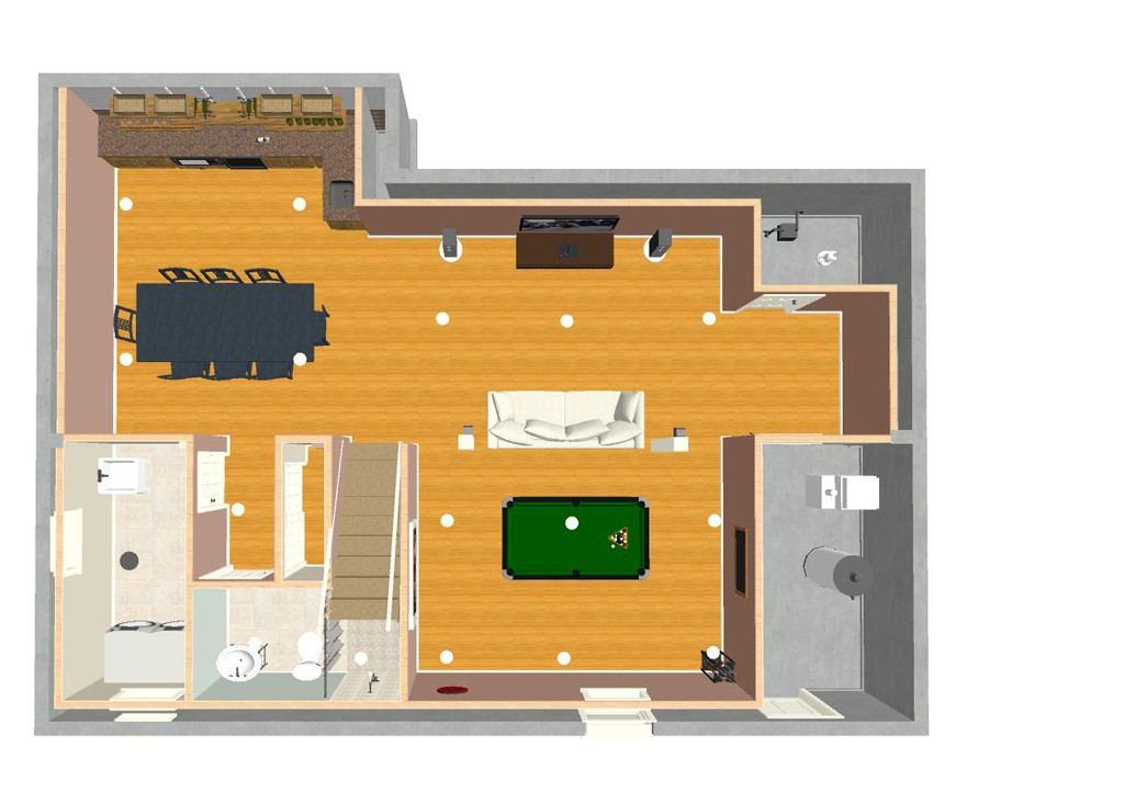 Basement Remodel Designs design ideas for basement remodeling with game room and kitchen