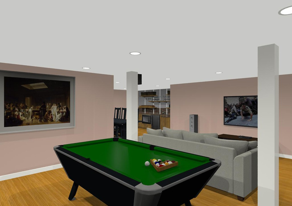 Design Ideas For Basement Remodeling With Game Room And