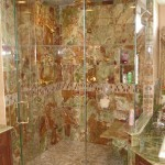 Green onyx in shower for a bathroom remodel