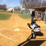 Connor Parsons catching in Burlington Township Cal Ripken Baseball League