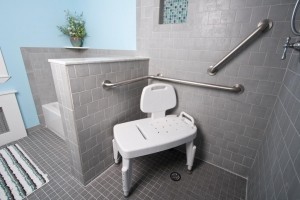 level entry shower system with grab bars