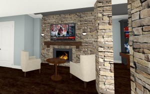 Plan 3 CAD for Remodeling Close Up View of the Fireplace