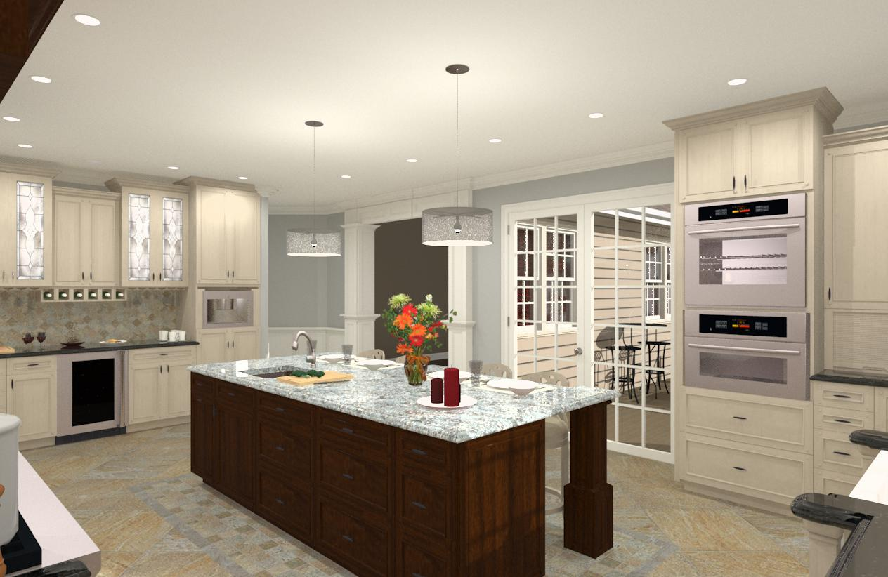 Kitchen design and build for Gourmet kitchen islands