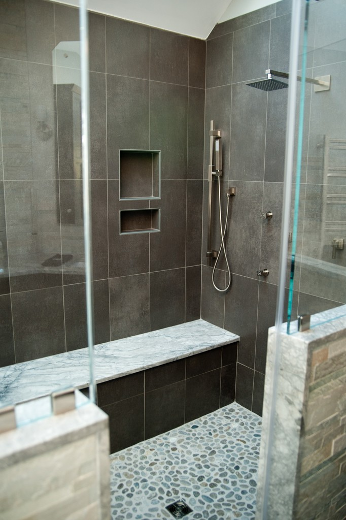 Custom shower options for a bathroom remodel design for Bathroom design build