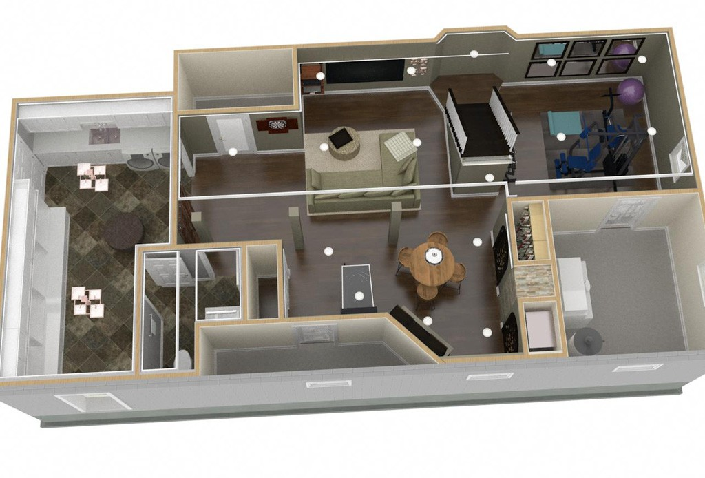 basement finishing design. Dollhouse Overview Of Plan 1 Basement Finishing (2)-Design Build Pros Design
