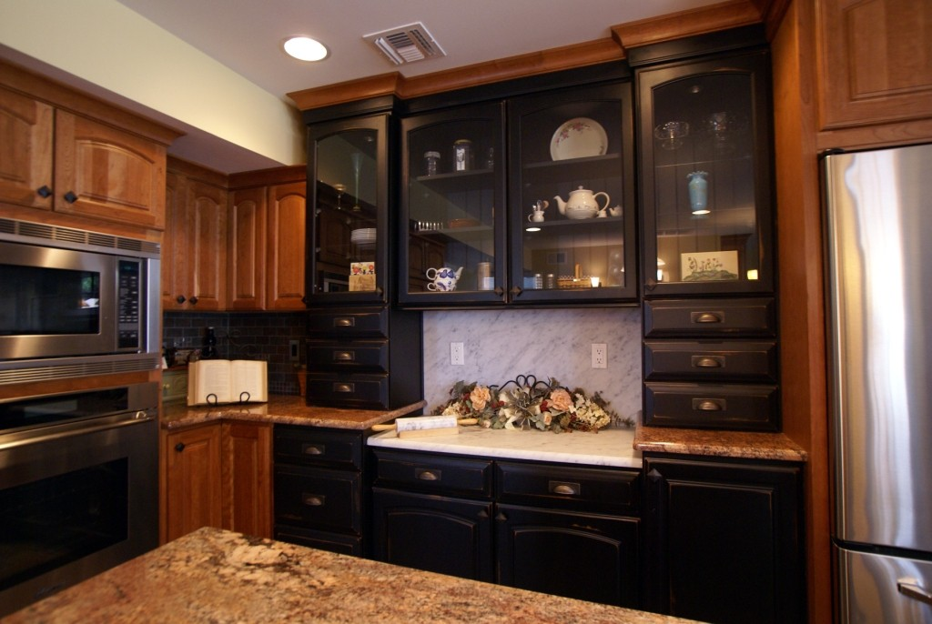 Kitchen cabinets with a distressed finish toms river nj for Finished kitchen cabinets