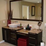 single vessel sink vanity with make up area - Design Build Planners