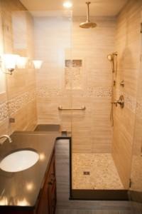 river rock pebble shower floor - Design Build Planners (1)