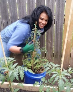 Becca working in the Organic Gurlz Gardens Fort Wayne Indiana