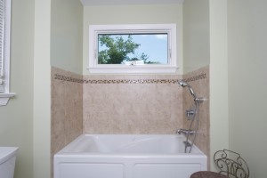Awning window in a tub area