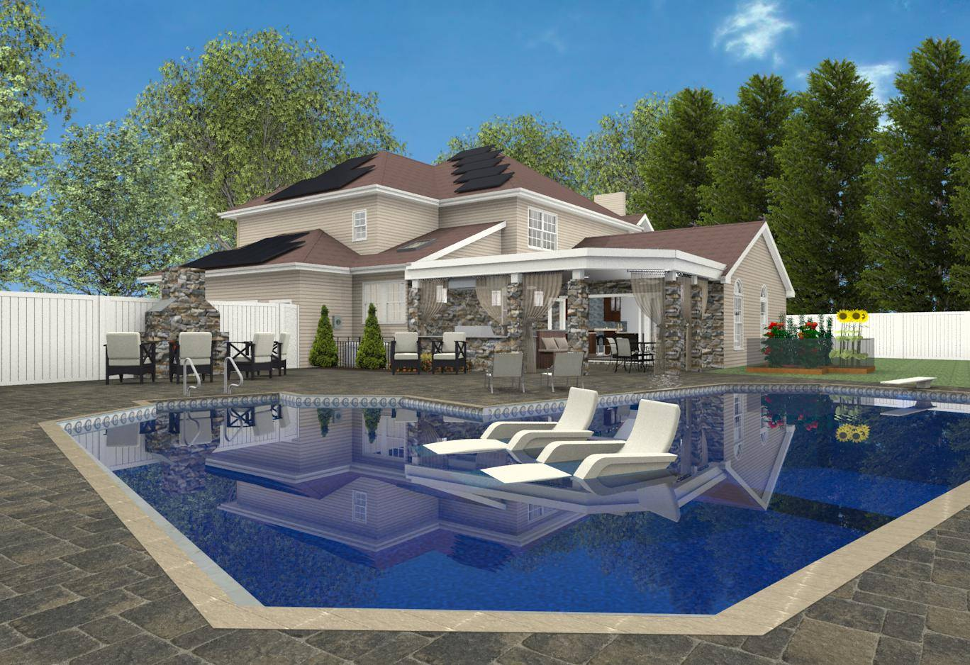 Creating a backyard oasis in suburban new jersey for Pool house additions