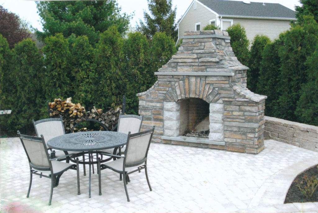 Custom Stone Exterior Fireplace In NJ