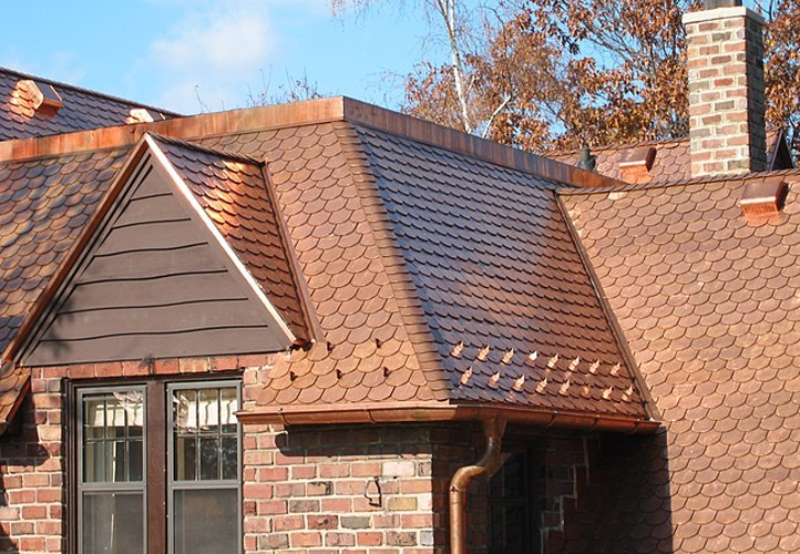 Copper Roof, Trim, And Gutters